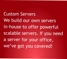 Custom Servers We build our own servers in-house to offer powerful scalable servers. If you need a server for your office,  we've got you covered!